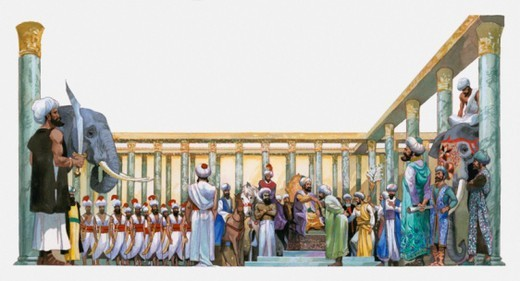 Stock Photo: 4268R-15718 Illustration of Sultan in Hall of One Thousand Pillars with elephants, soldiers and guards