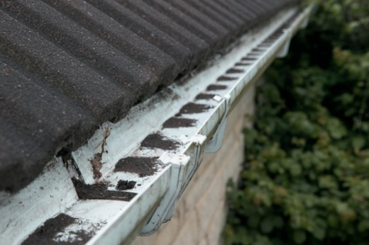 Stock Photo: 4268R-1674 Powdery debris from tiled roof clogging guttering