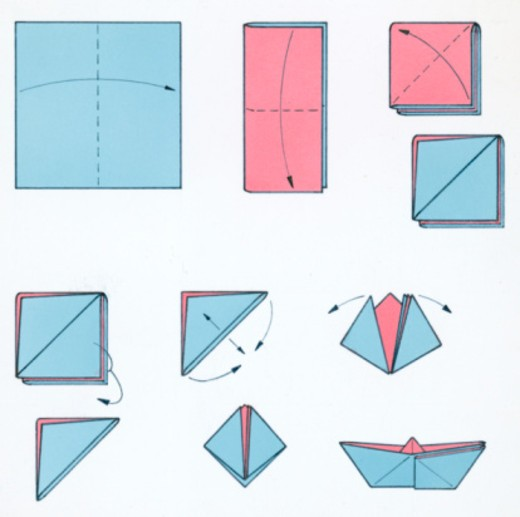 Stock Photo: 4268R-1705 Sequence of illustrations showing how to make a pink and blue paper boat