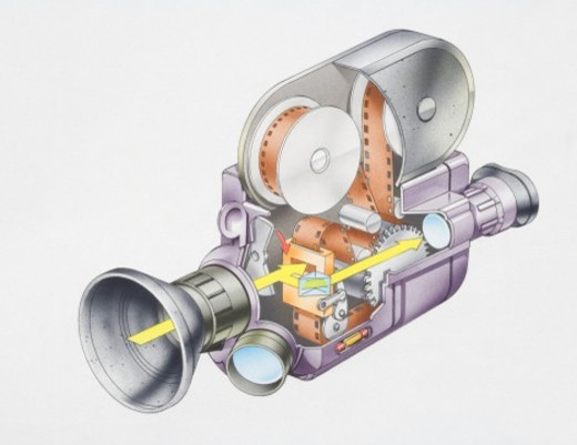 Stock Photo: 4268R-2064 Cross-section diagram of a cine camera.