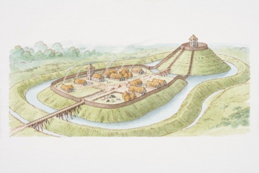 Stock Photo: 4268R-2203 Motte-and-bailey castle, raised earth mound and enclosed courtyard, surrounded by water ditch.