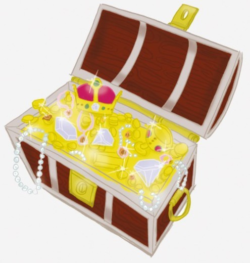 Treasure chest containing gold coins, pearl necklaces, diamonds, drinking vessel and crown. : Stock Photo