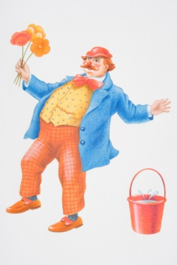 Illustration, stumbling clown holding bunch of flowers standing next to red bucket with water splashing. : Stock Photo