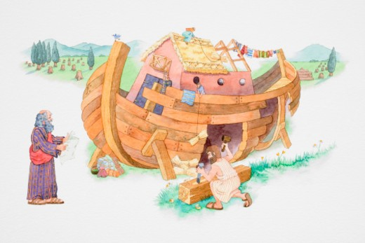Stock Photo: 4268R-2424 Depiction of Noah building the ark