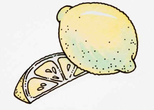 Cartoon, whole lemon and lemon slice : Stock Photo