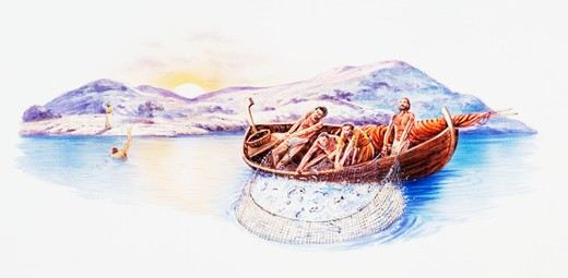 Stock Photo: 4268R-2538 Last Breakfast, depiction from John 21, disciples on boat catching large net of fish, with Peter in lake swimming to shore, and Jesus standing on shore, hills and sunset in background.