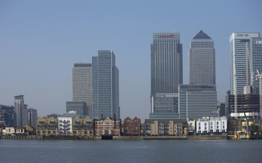 Stock Photo: 4268R-3169 Europe, Great Britain, England, London, Canary Wharf and Docklands area, office towers and older buildings along riverbank
