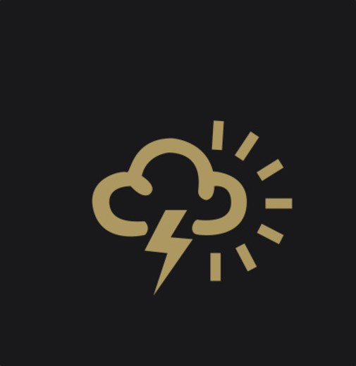 Black and white illustration of television weather symbol representing thundery showers : Stock Photo