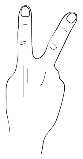 Stock Photo: 4268R-3604 Black and white illustration of V sign with knuckle outward