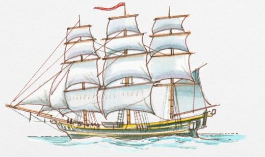 Illustration of HMAV Bounty, a fully rigged military sailing ship : Stock Photo