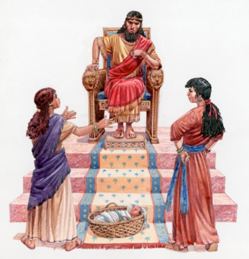 Illustration of two prostitutes standing below wise King Solomon sitting on throne with baby in Moses basket at their feet : Stock Photo