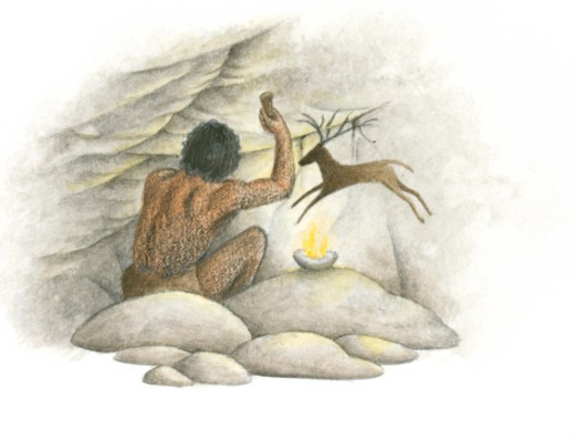 Stock Photo: 4268R-3736 Illustration of prehistoric man using to tool to above head near painting of deer on cave wall