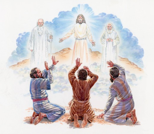 Illustration of disciples Peter, James and John kneeling in awe below Jesus, Moses and Elijah standing on mountain of transfiguration above  : Stock Photo