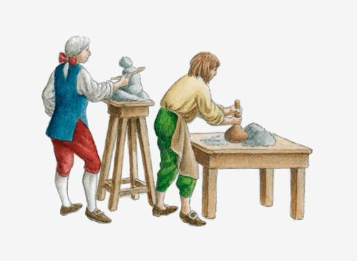 Illustration of men working in Meissen porcelain factory, Dresden : Stock Photo