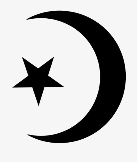 Black and white illustration of Star and Crescent symbol of Islam : Stock Photo