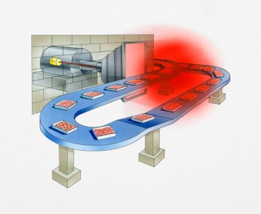 Illustration of applying ionizing radiation from electron beam onto food on conveyor belt during irradiation process : Stock Photo