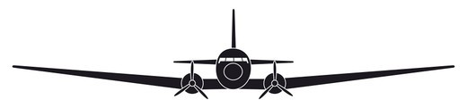 Black and white digital illustration Douglas DC-3, front view of 1930s American fixed-wing, propeller-driven aircraft  : Stock Photo