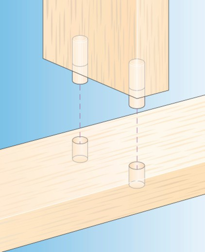 Digital Illustration showing how to join two pieces of wood using dowel joints : Stock Photo
