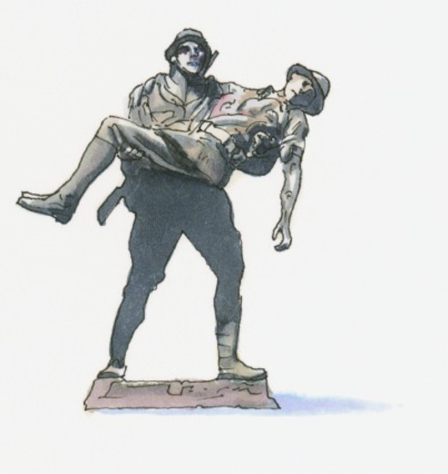 Black and white llustration of Mehmetcik Memorial, showing Turkish Soldier carrying an Australian Soldier, Gallipoli : Stock Photo