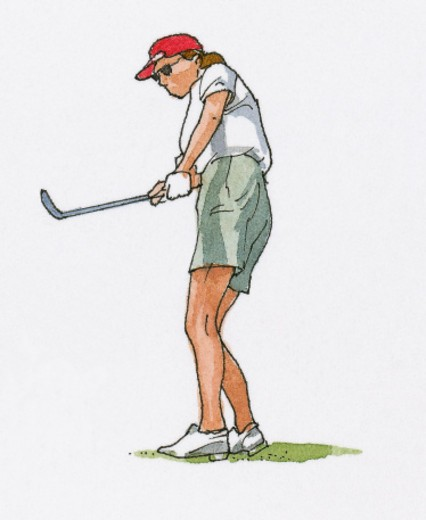 Stock Photo: 4268R-4322 Illustration of woman playing golf
