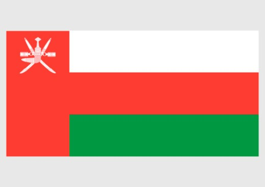 Stock Photo: 4268R-4382 Illustration of national flag of Oman, with three white, green, and red stripes on field and red bar bearing national emblem of Oman
