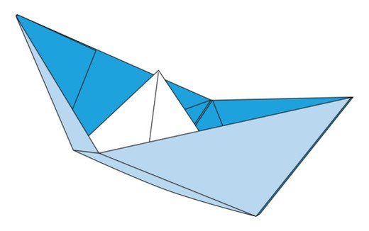 Digital illustration of boat made from folded paper : Stock Photo