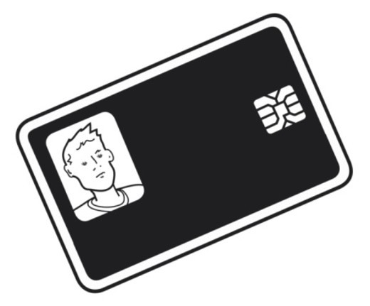 Stock Photo: 4268R-4461 Black and white digital illustration of photo identity card with smart card chip