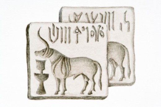 Stock Photo: 4268R-4553 Black and white digital illustration of Indus seal showing script and Zebu bull, Circa 2500 BC