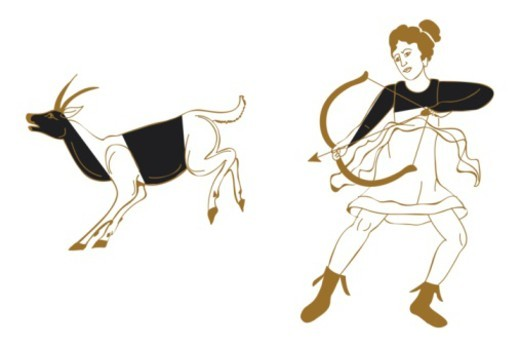 Digital illustration of Greek goddess Artemis hunting deer with bow and arrow : Stock Photo