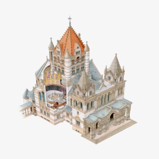 Digital illustration of Richardsonian and Romanesque style Trinity Church, 1872, Boston, Massachusetts : Stock Photo