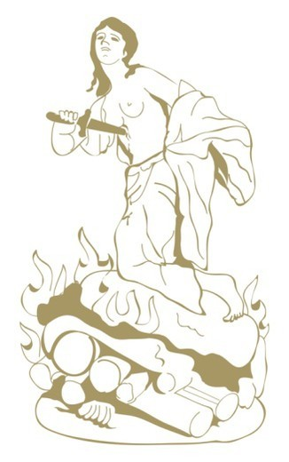 Digital illustration of Dido stabbing herself to death on top of funeral pyre : Stock Photo