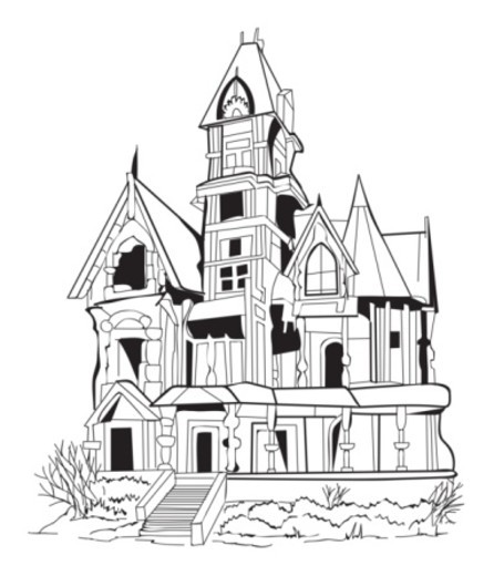 Stock Photo: 4268R-4677 Black and white digital illustration of Gothic-style haunted house