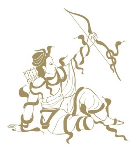 Digital illustration of mythological Hindu warrior Meghanath holding cross bow : Stock Photo