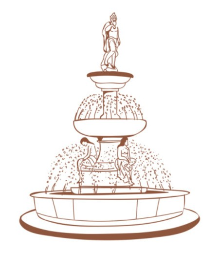 Digital illustration of statues on fountain of knowledge in the Land of Promise according to Irish l : Stock Photo