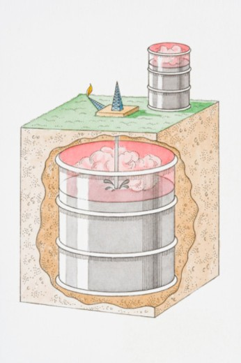 Stock Photo: 4268R-4877 Cross section illustration of underground and above ground metal barrels filled with fossil fuel
