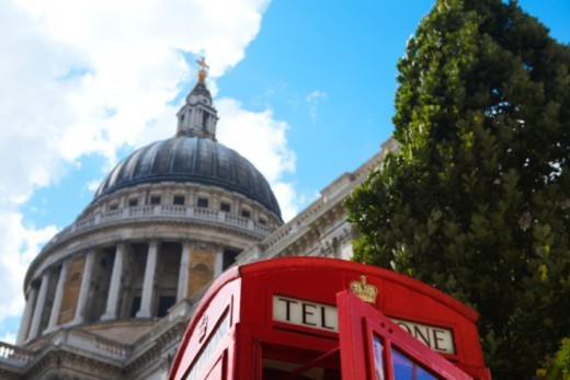 Great Britain, England, London, St. Paul's Cathedral dome, traditional red telephone box, and tall t : Stock Photo