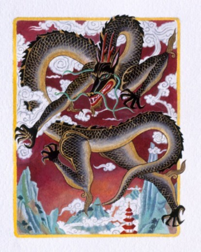 Stock Photo: 4268R-4956 Illustration of Angry Dragon, representing Chinese Year Of The Dragon