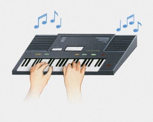 Illustration of hands on synthesizer keyboard : Stock Photo