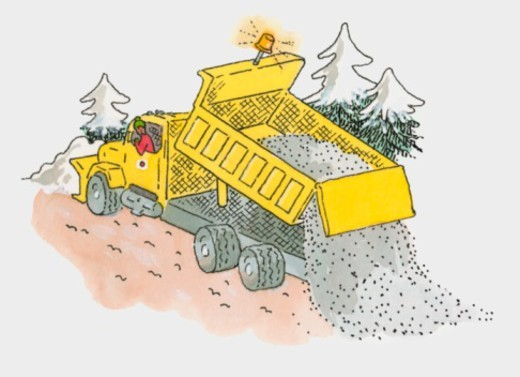 Illustration of man salting road cleared by yellow snowplough : Stock Photo