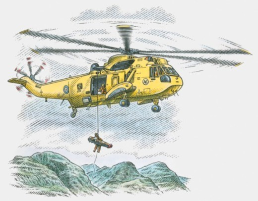 Stock Photo: 4268R-5460 Illustration of helicopter rescuing injured man from mountain