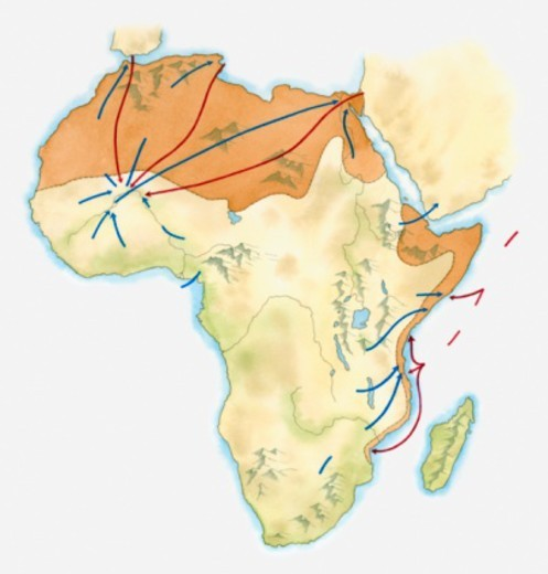 Map of Africa with trade centres, c. 15th century : Stock Photo