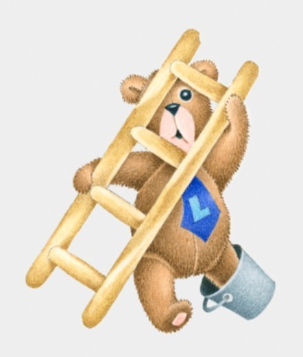 Illustration of teddy bear with foot in bucket and holding onto ladder, wearing a tie with the letter L on : Stock Photo