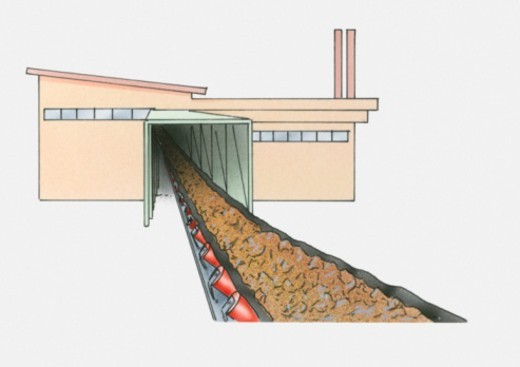 Illustration of conveyor belt and tunnel entrance : Stock Photo