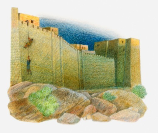 Illustration of Rahab letting the Israelite spies out of her house by helping them scale outer walls of city : Stock Photo