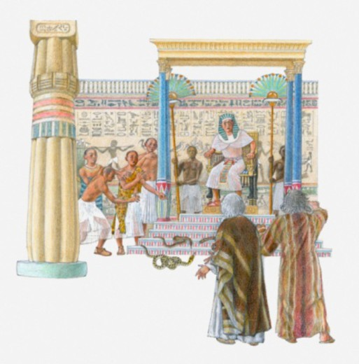 Illustration of Moses and Aaron standing in front of Pharaoh and the royal magicians : Stock Photo