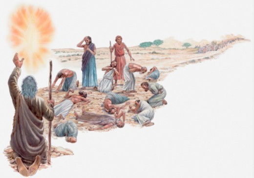 Illustration of Moses talking to God after Israelites have rejected the Promised Land, men struck dead on ground, only Joshua and Caleb are spared, Book of Numbers : Stock Photo