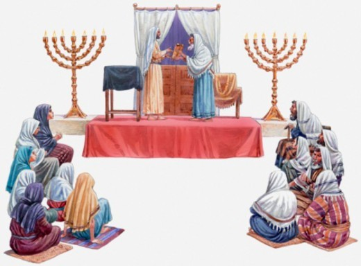 Illustration of Jesus standing on altar in the synagogue in Nazareth, an attendant handing him the scroll of the prophet Isaiah, Gospel of Luke : Stock Photo