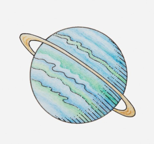 Illustration of planet with ring : Stock Photo