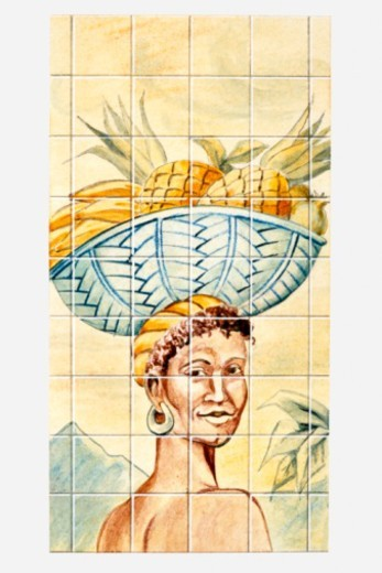 Stock Photo: 4268R-6586 Illustration of Caribbean woman carrying basket of fruit on head