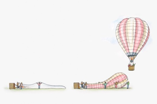 Illustration of of deflated, inflating and inflated hot air balloon : Stock Photo